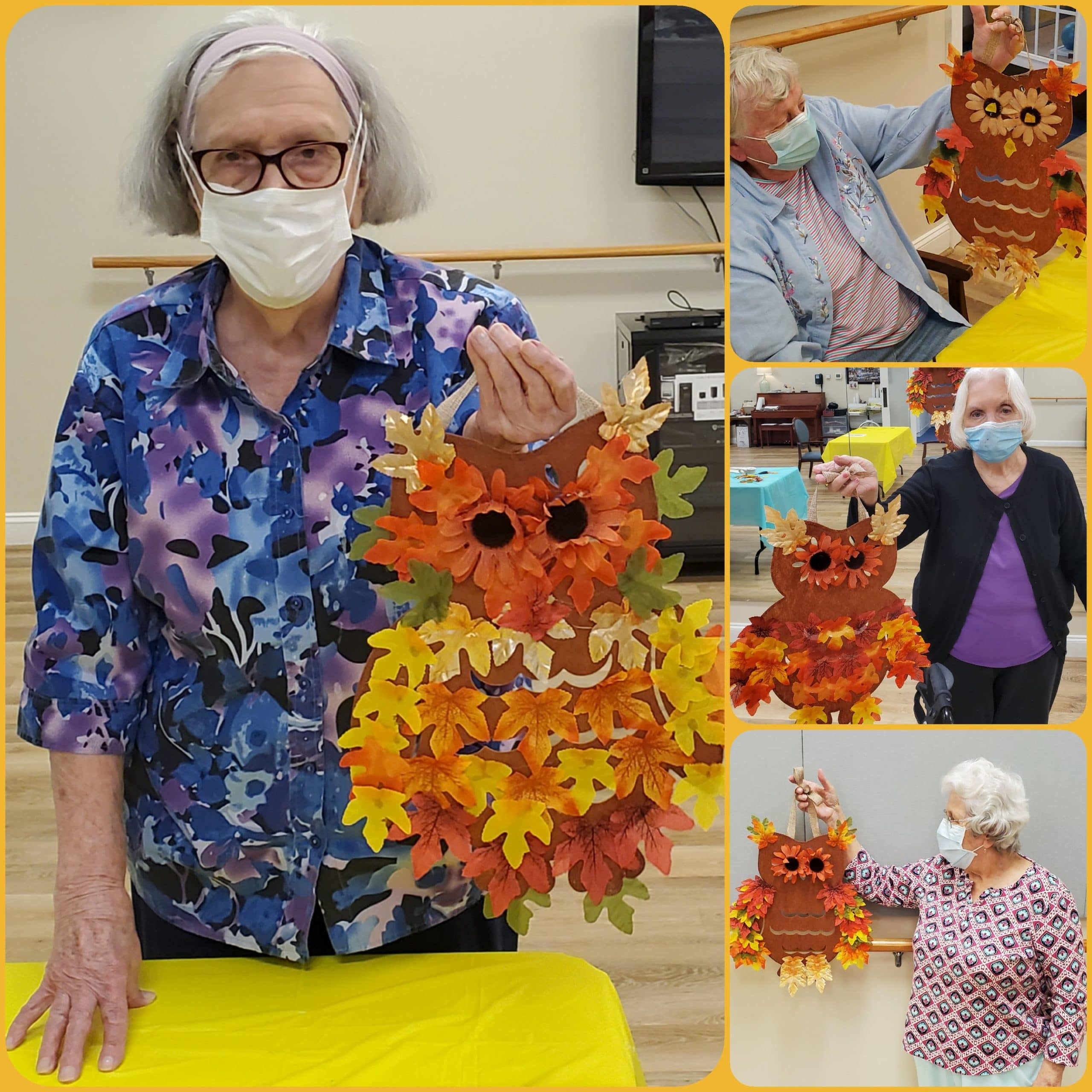 Fall Owl decoration made by woman